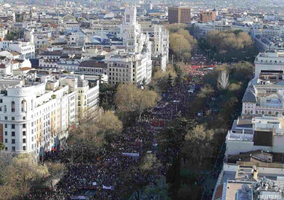 Tens of thousands of protesters take part in an anti-austerity demonstration in Madrid